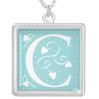 Hearts Monogram Necklace - letter C