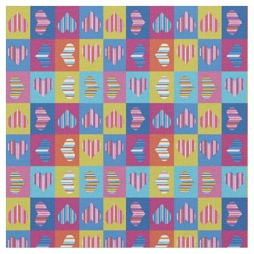 Hearts Multicolor Striped Fabric