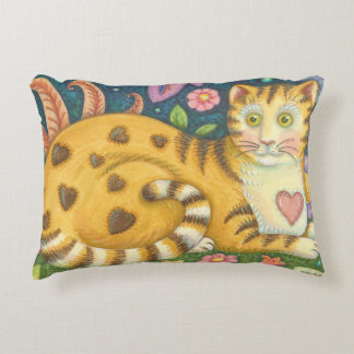 Hearts N' Stripes Tabby Folk Art Cat Pillow