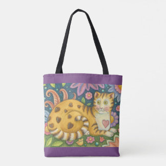 Hearts N' Stripes Tabby Folk Art CAT TOTE BAG