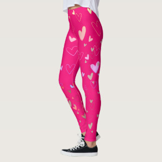 Hearts Neon Pink Girly Leggings
