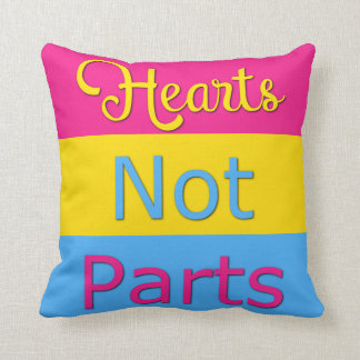 Hearts Not Parts Pansexual Pride Pillow