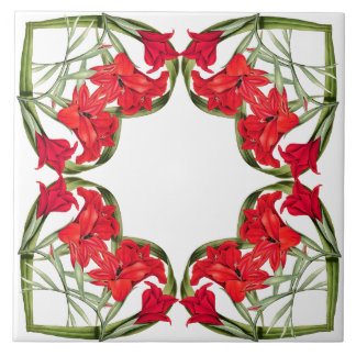 Hearts of Flowers Floral Botanical Tile