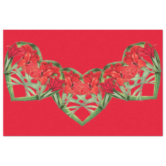 Hearts of Gladiola Flowers Floral Tissue Paper