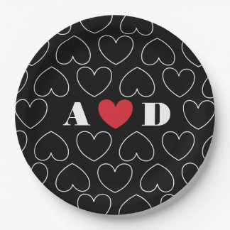 Hearts of Love Pattern with Couples Initials Paper Plate