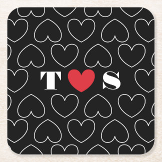 Hearts of Love Pattern with Couples Initials Square Paper Coaster