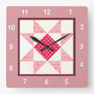 Hearts of Love Quilt Block in Pink Square Wall Clock