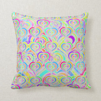 Hearts of Love Rainbow Psychedelic Throw Pillow