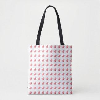 Hearts of Yarn & Knitting Needles Crafts Pattern Tote Bag