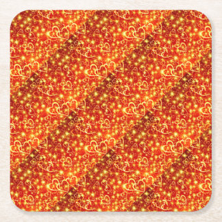 Hearts On Fire Square Paper Coaster