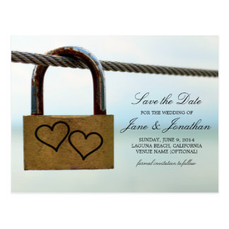 Hearts on Lock Wedding Save the Date Postcard