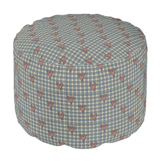 Hearts On Plaid Pattern Pouf