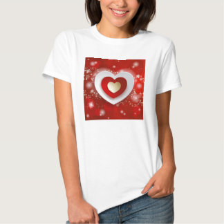 Hearts on red background shirts
