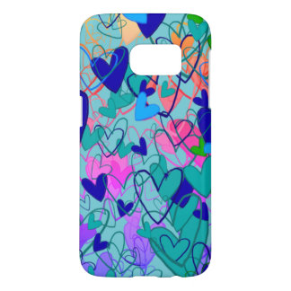 Hearts Ornate Artistic Vibrant Blue Dramatic Chic Samsung Galaxy S7 Case