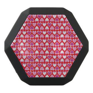 Hearts pattern black bluetooth speaker