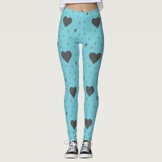 Hearts pattern on robin egg light blue Leggings