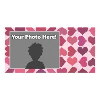 Hearts Pattern Customized Photo Card