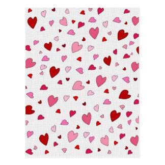 Hearts pattern postcard