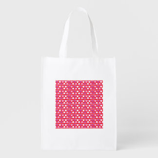 Hearts pattern reusable grocery bag
