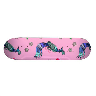 Hearts & Peacocks - Pink & Cyan Delight Skate Boards