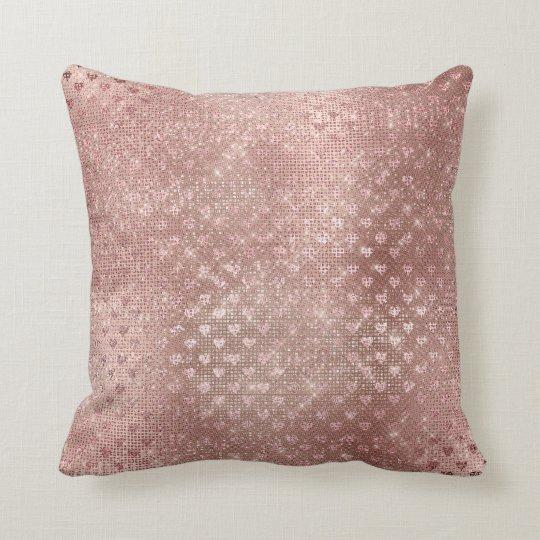 Hearts Pink Rose Gold Blush Sequin Metallic Throw Pillow