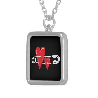 Hearts Pinned Together Square Pendant Necklace