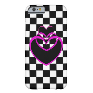 Hearts Popart Valentine Checkerboard Purple iPhone Barely There iPhone 6 Case