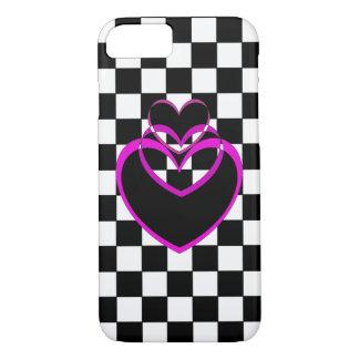 Hearts Popart Valentine Checkerboard Purple iPhone iPhone 7 Case