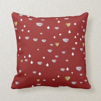 hearts, rain drops & diamonds, stylish red throw pillow