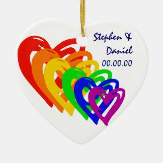 Hearts Rainbow Ceramic Heart Ornament