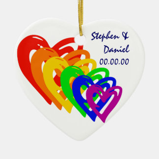 Hearts Rainbow Ceramic Ornament