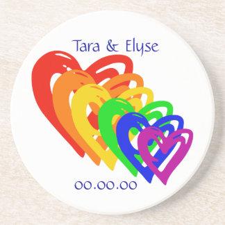 Hearts Rainbow Drink Coasters