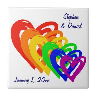 Hearts Rainbow Tile