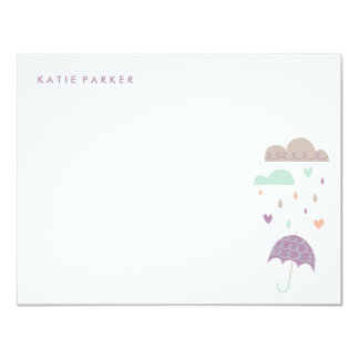 Hearts & Raindrops Stationery - Plum Card