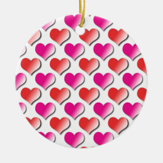 Hearts Red and Pink Polka Dot Pattern Ornament