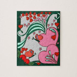 Hearts Retro 60s Design Jigsaw Puzzle