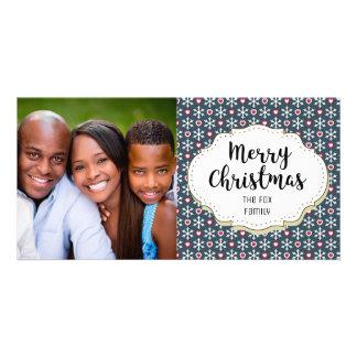 Hearts Snowflakes Modern Christmas Photo Card