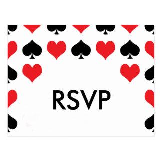 Hearts Spades Casino RSVP Postcard
