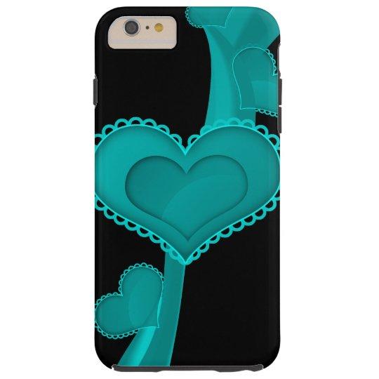 Hearts, Swirls, Lace - Black, Neon Blue, Cyan Tough iPhone 6 Plus Case