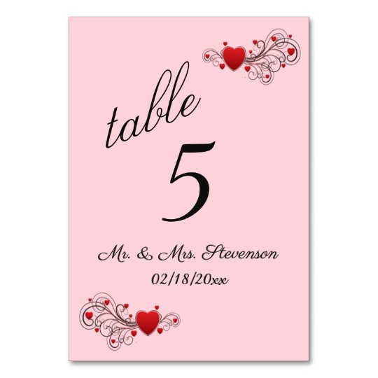 Hearts Table Number
