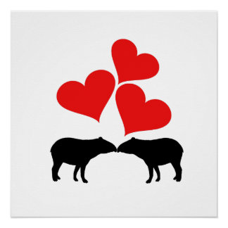 Hearts & Tapirs Poster