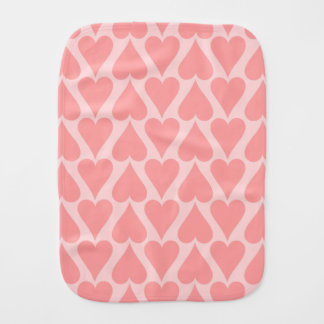 Hearts Valentine's Day Background Coral Pink Burp Cloths
