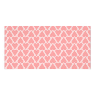 Hearts Valentine's Day Background Coral Pink Personalized Photo Card