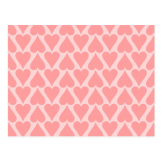 Hearts Valentine's Day Background Coral Pink Postcard