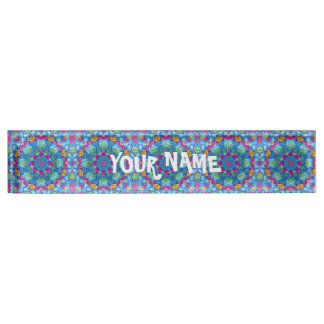 Hearts Vintage  Blue Kaleidoscope  Desk Nameplate