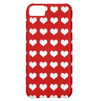 Hearts white on red Case-Mate iPhone case