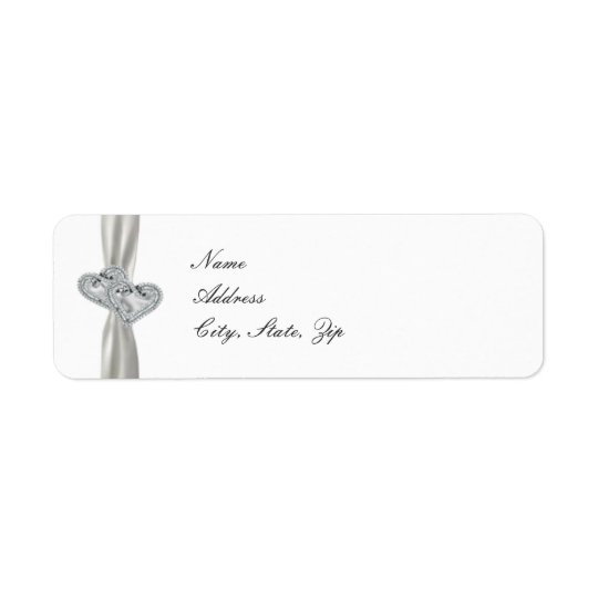 Hearts White Wedding Address Labels