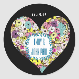 Hearts Wild Flowers Wedding Save the Date Sticker