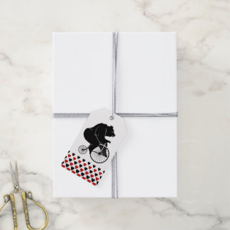 Hearts with a Bear Riding a Bike Gift Tags