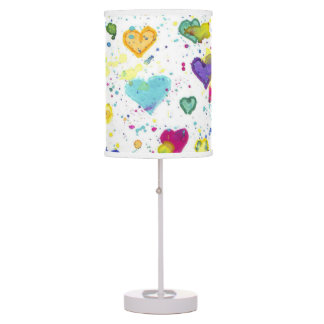 Hearts with Blue Pink Yellow Green Paint Splatter Table Lamp